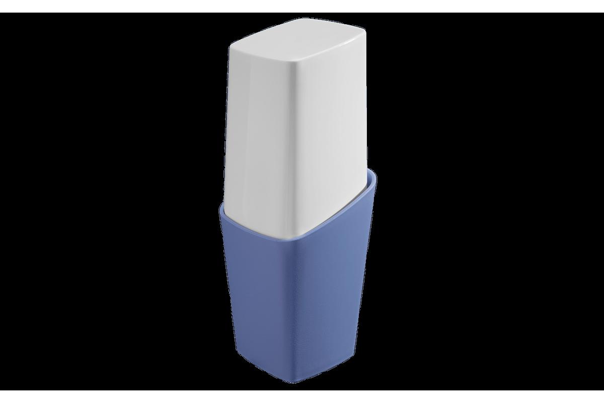 Porta-Escova com Tampa - Square 8,2 X 8,2 X 12,3 Cm Azul Coza