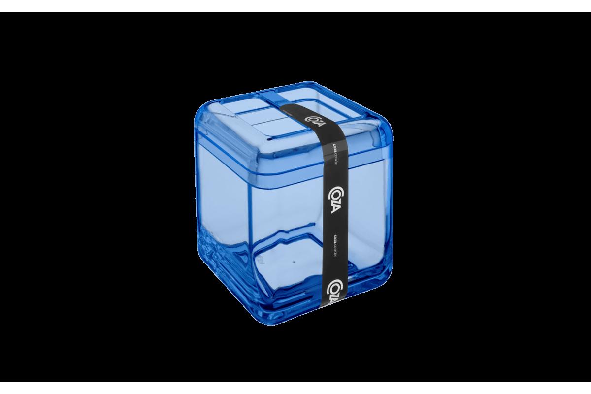 Porta Escova - Cube 8,5 X 8,5 X 10,5 Cm Azul Coza