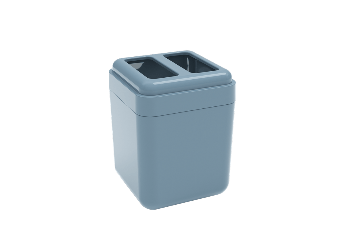 Porta-escova Cube - AZF 8,5 X 8,5 X 10,5 Cm Azul Fog Coza