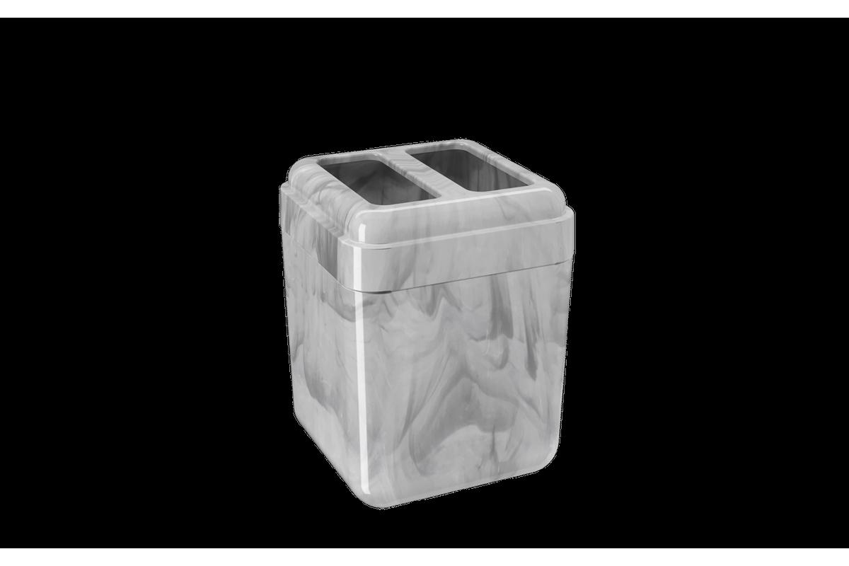 Porta-escova Cube - MBC 8,5 X 8,5 X 10,5 Cm Mármore Branco Coza