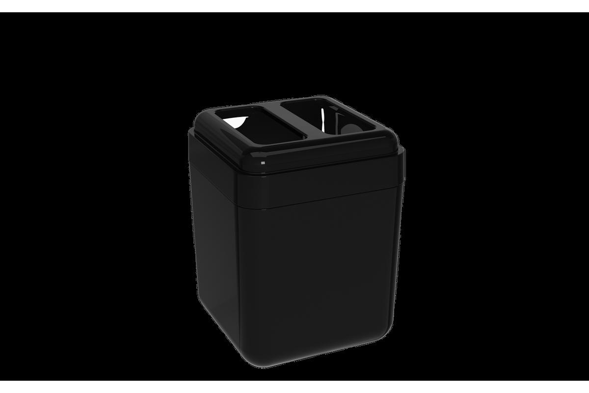 Porta-escova Cube - PT 8,5 X 8,5 X 10,5 Cm Preto Coza