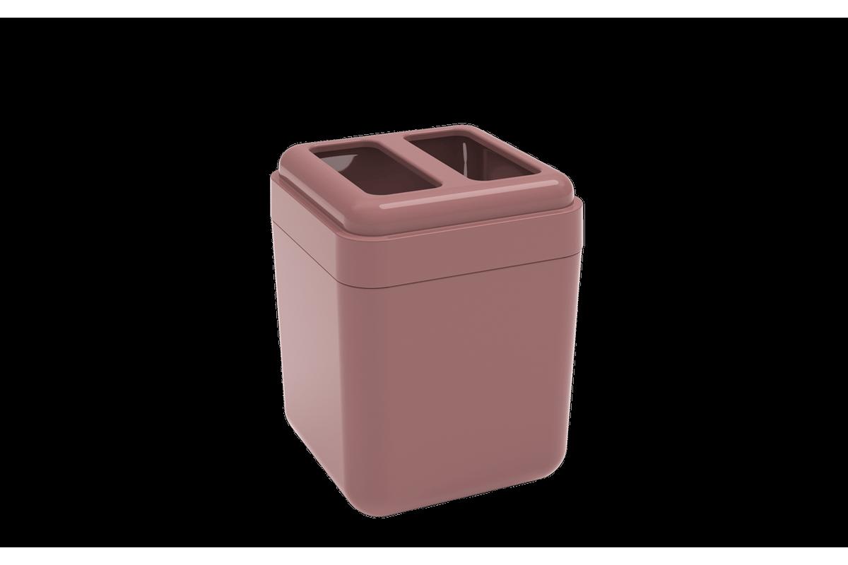 Porta-escova Cube - RSM 8,5 X 8,5 X 10,5 Cm Rosa Malva Coza