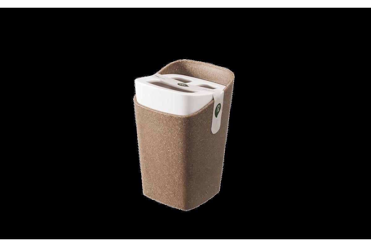 Porta-Escova - Square Bios 8,2 X 8,2 X 12,3 Cm Bios com Branco Coza