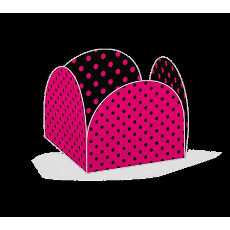 Porta Forminha P/ Doces Pink Poá Preto Porta Forminha para Doces Pink Poá Preto - 50 Unidades
