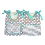 Porta Fraldas para Bebê 2 Peças Cinza e Azul Tiffany
