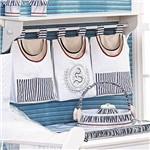 Porta Fraldas para Varão Náutico 3 Peças Branco - Azul