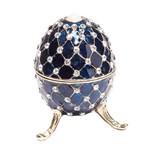 Porta Joia Oval Prestige Zamac Azul 9,5x6cm
