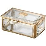 Porta Jóias de Zamac e Vidro Dourado Crown I Dourado 3264 Lyor
