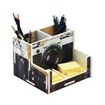Porta Lápis Câmera Fotográfica Vintage Prata