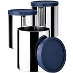 Porta Mantimentos Aço Inox 3 Peças Azul - Euro Home
