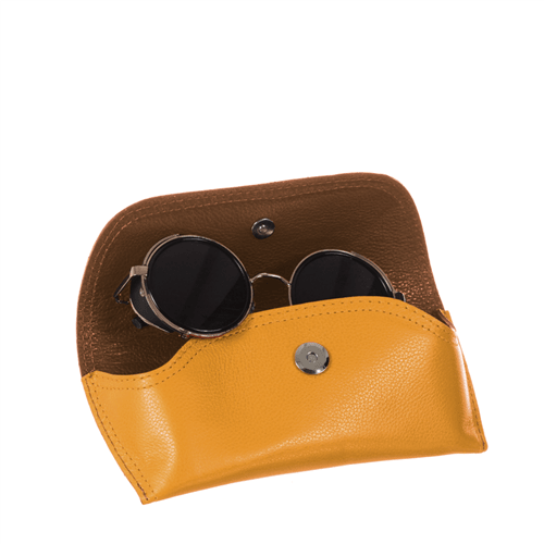 Porta Óculos de Couro MOSTARDA