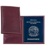 Porta Passaporte em Couro Legítimo Vinho com Porta Cartões