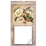 Porta Recado Flor com Pássaro 5x14 em Mdf Dhpm5-003 - Litoarte