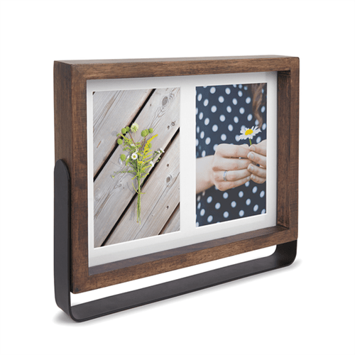 Porta Retrato Axis Multi para 2 Fotos 10X15 Nogueira Umbra