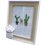 Porta Retrato Branco e Bege para 1 Foto Cactus Flower Urban