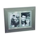 Porta-Retrato Duplo Granito 9X13 Cinza e Madeira