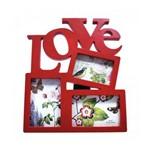 Porta Retrato Love para 3 Fotos Parede ou Mesa Quadro Painel