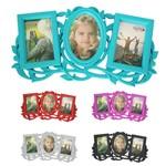 Porta Retrato Mural de Plastico Folhas Colors para 3 Fotos 10x15