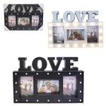 Porta Retrato Mural de Plastico Love Preto Branco com 18 Leds para 3 Fotos 10x15