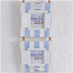Porta Retrato para 2 Fotos Janelas Pátina Branco e Azul Alça de Corda