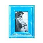 Porta Retrato Rústico Azul 10x15 Cm Foto Moldura Mesa
