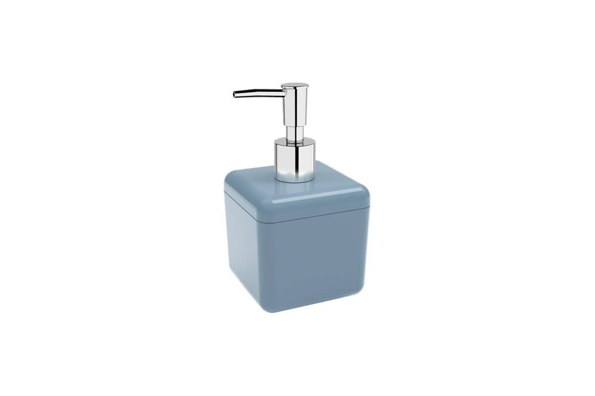 Porta-sabonete Líquido 330 Ml Cube - AZF 8,5 X 8,5 X 15 Cm 330 Ml Azul Fog Coza