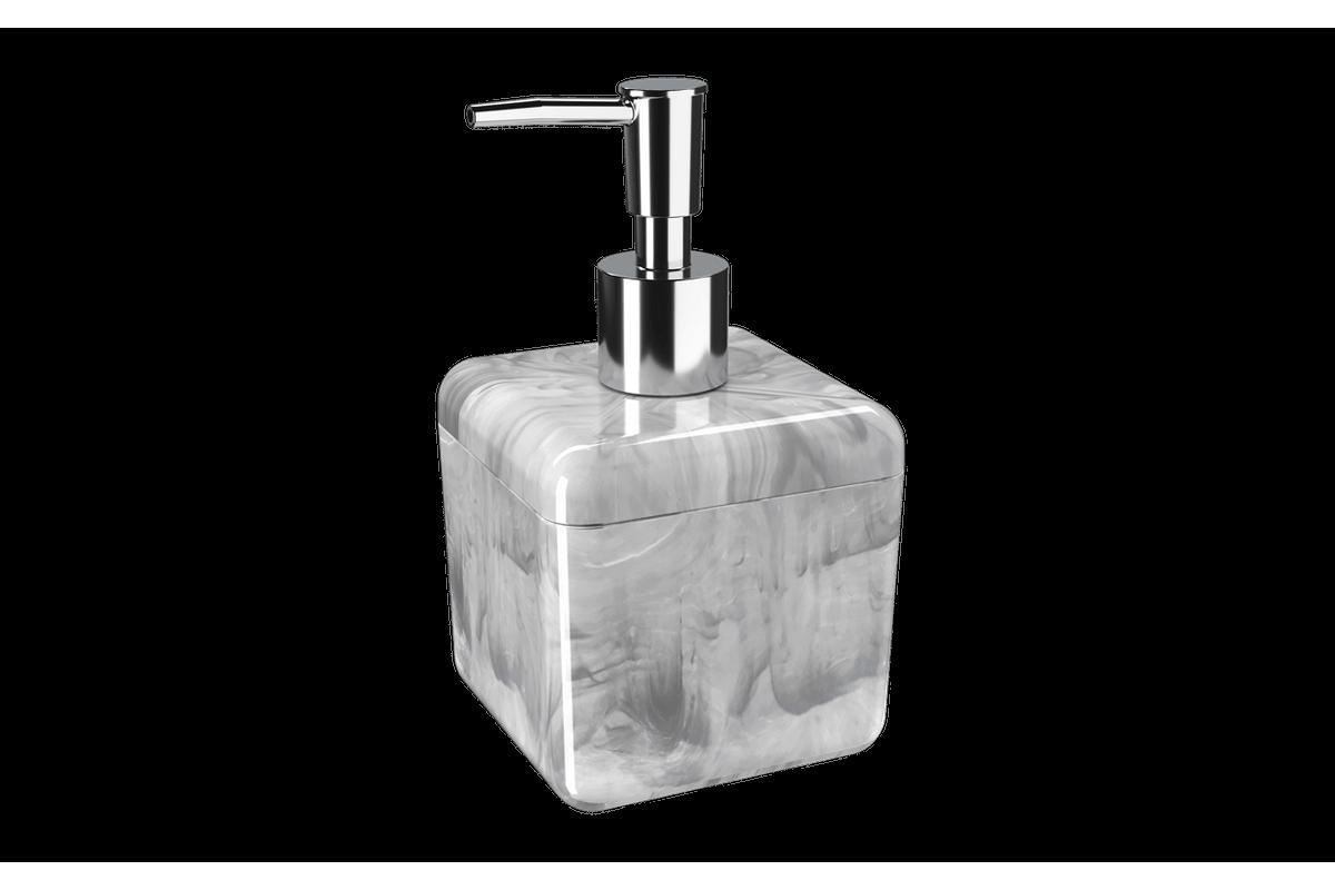 Porta-sabonete Líquido 330 Ml Cube - MBC 8,5 X 8,5 X 15 Cm 330 Ml Mármore Branco Coza
