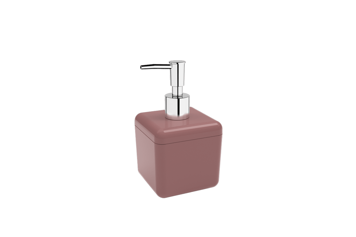 Porta-sabonete Líquido 330 Ml Cube - RSM 8,5 X 8,5 X 15 Cm 330 Ml Rosa Malva Coza