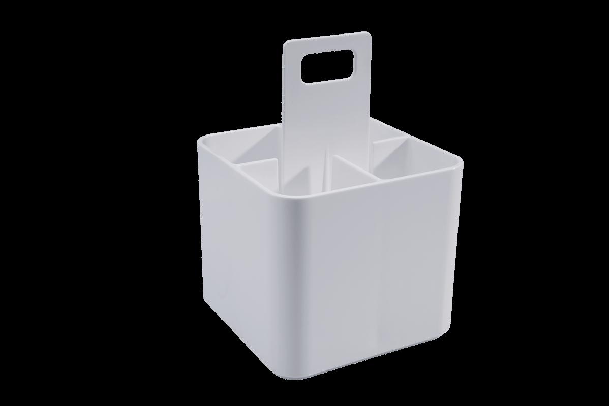 Porta Talheres - MOD 12 X 12 X 11 Cm Cristal com Branco Coza