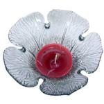 Porta Vela Aromatizada Vermelha Formato Flor de Vidro Perfumada Natal Luau Praia