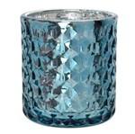Porta Velas Diamond 8 Cm Azul