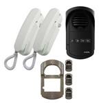 Porteiro Eletrônico Coletivo 4 Pontos Agl S300 + 2 Monofones Universal Agl + Protetor