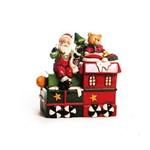 Pote Cerâmica Decoração Natal Locomotiva Noel 23cm Vermelho
