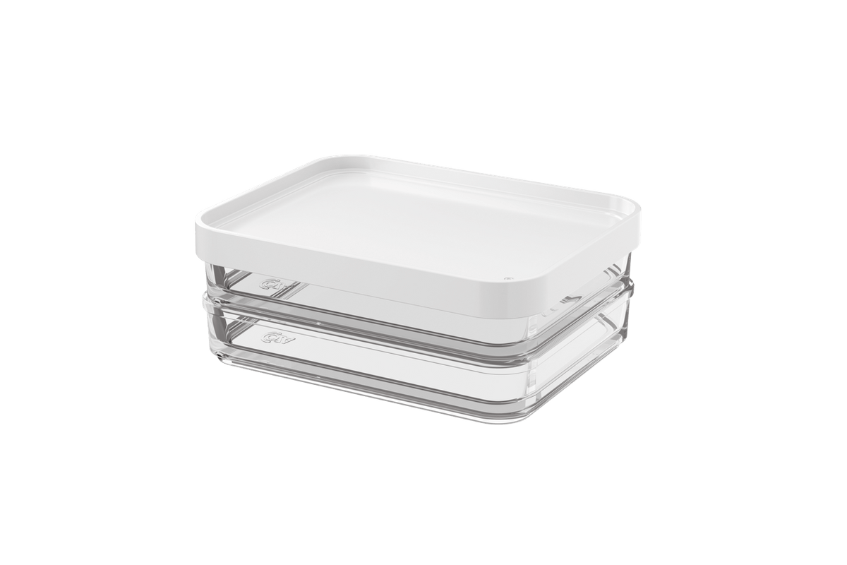 Pote Clear Duo 560ml 13,1x16,7x6cm Branco Coza