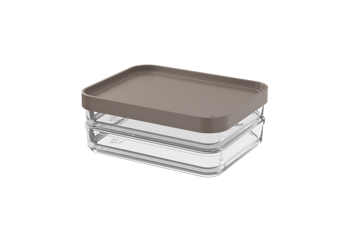 Pote Clear Duo 560ml 13,1x16,7x6cm Warm Gray Coza