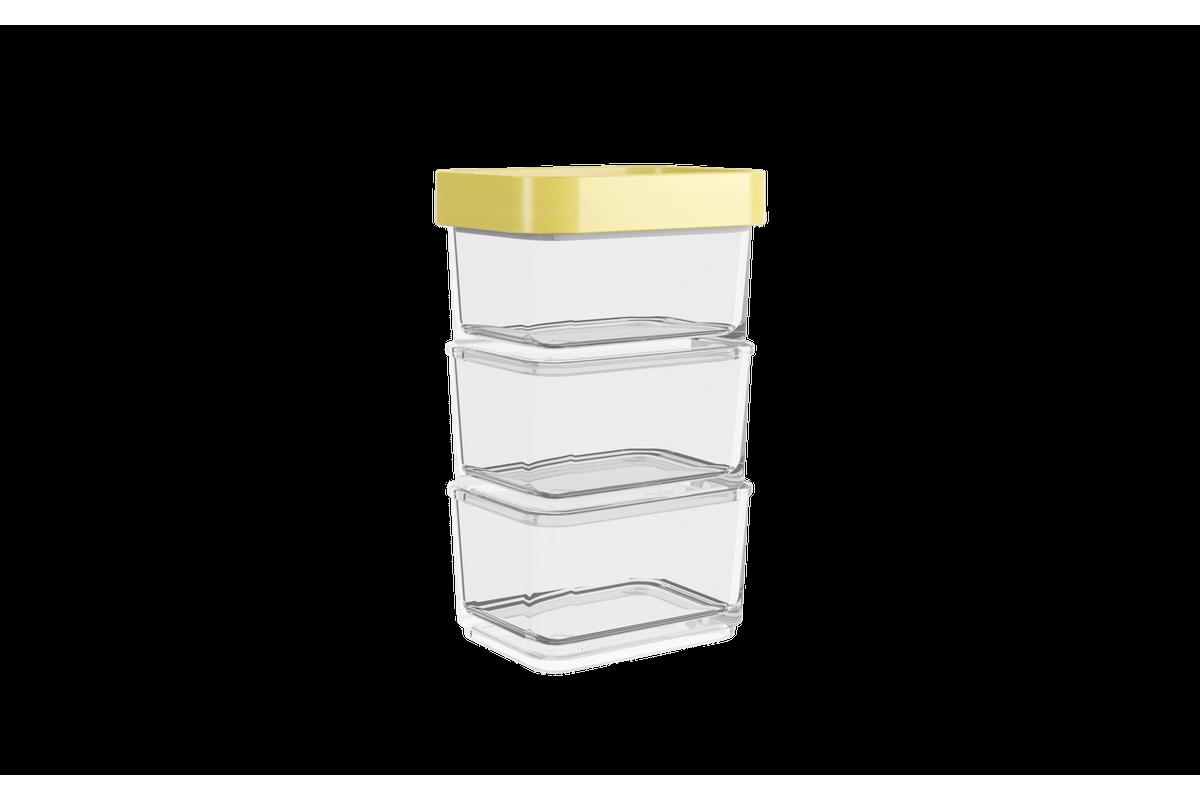 Pote Clear Micro Trio 300ml 6,2x8x13cm Amarelo Soft Coza