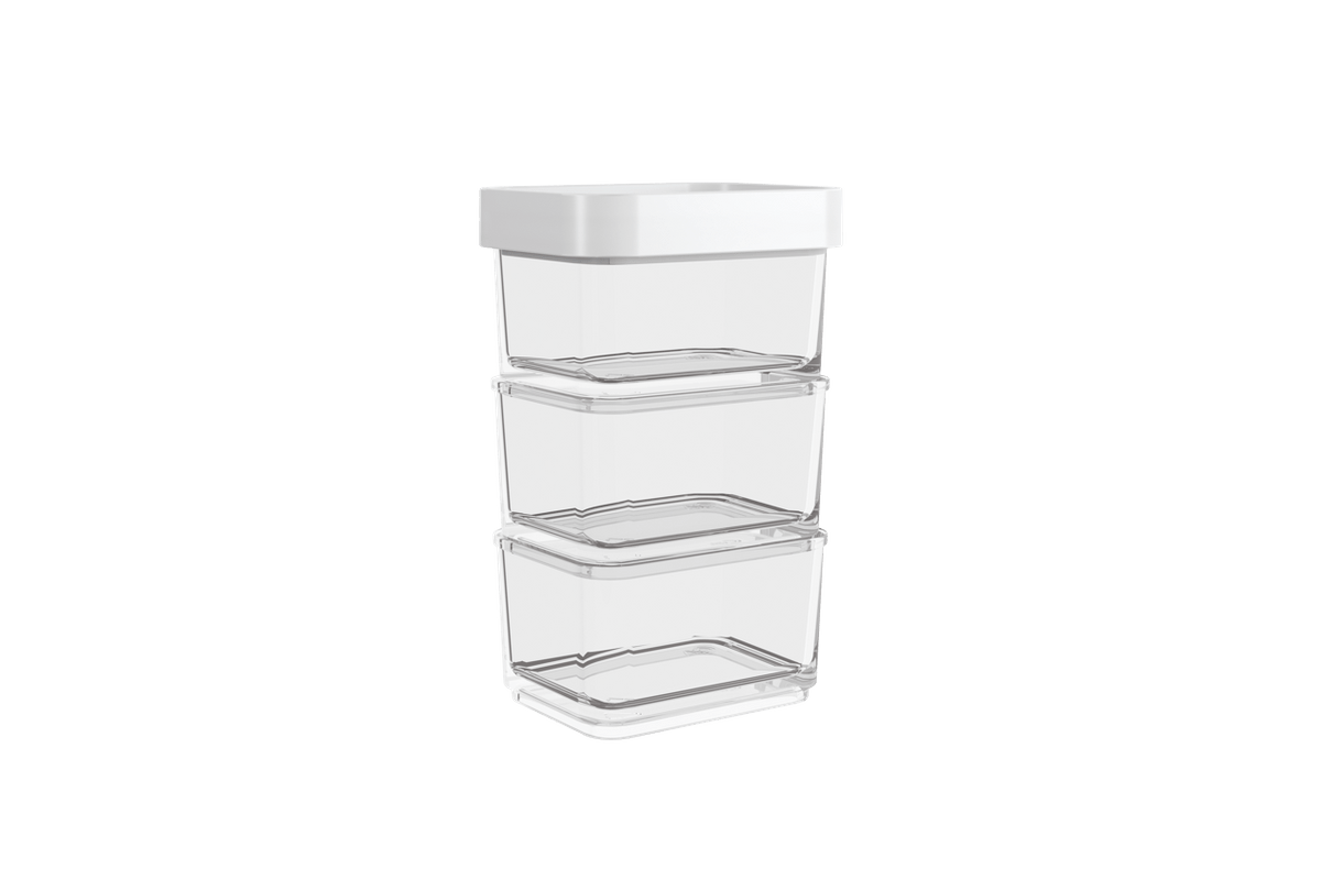 Pote Clear Micro Trio 300ml 6,2x8x13cm Branco Coza