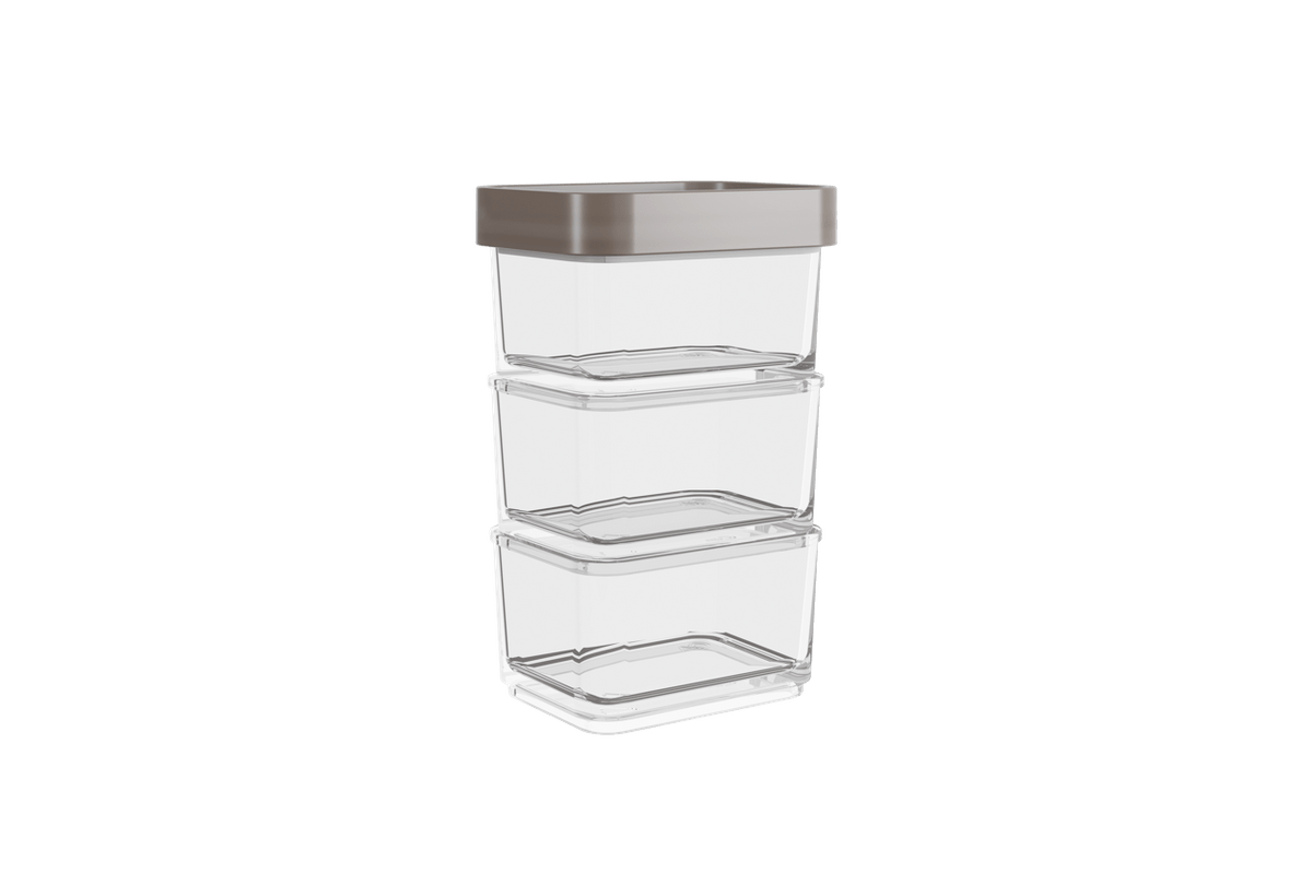 Pote Clear Micro Trio 300ml 6,2x8x13cm Warm Gray Coza