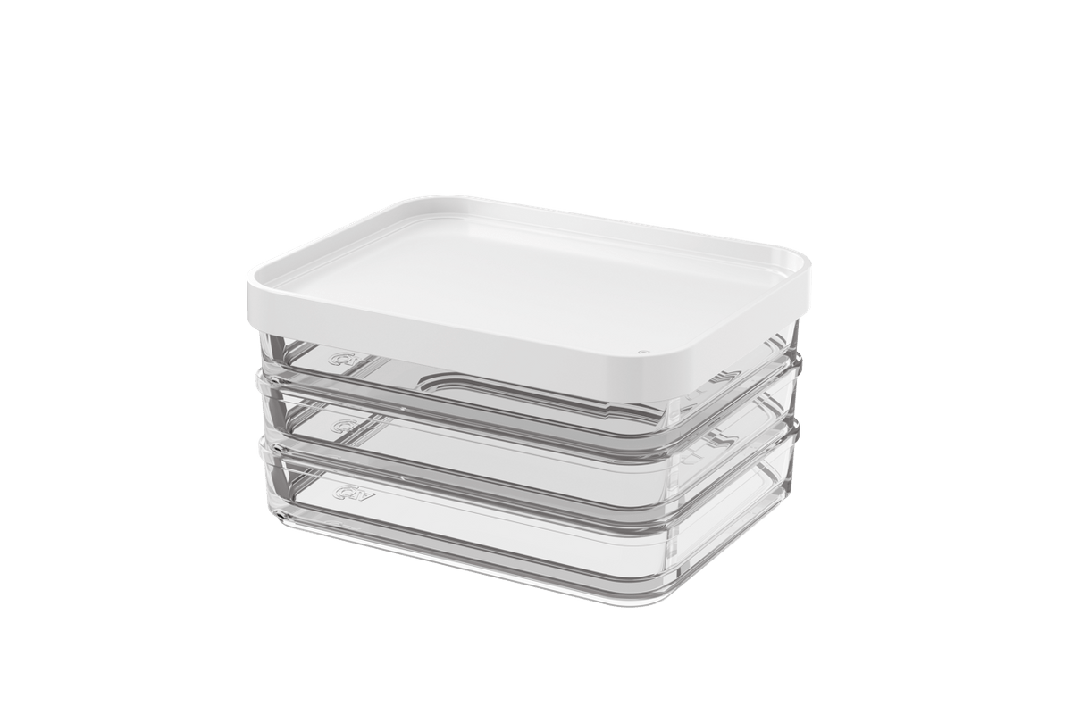 Pote Clear Trio 840ml 13,1x16,7x8,5cm Branco Coza