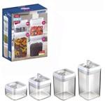 Pote de Acrilico Quadrado Transparente com Alca e Tampa Hermetica Kit com 4 Pecas na Caixa
