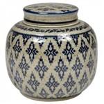 Pote de Cerâmica Decorativo - Azul e Branco Envelhecido