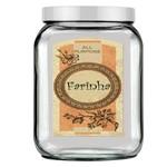 Pote de Vidro Quadrado Luxo Branco - Tag Farinha Vintage