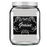 Pote de Vidro Quadrado Luxo Branco - Tag Grains Preto