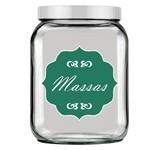 Pote de Vidro Quadrado Luxo Branco -Tag Massas Verde Folha