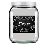 Pote de Vidro Quadrado Luxo Branco - Tag Sugar Preto