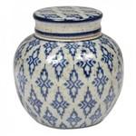 Pote Decorativo de Cerâmica com Tampa - Branco e Azul 10cm