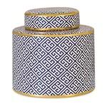 Potiche de Cerâmica Branco e Azul Noah 9354 Mart