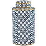 Potiche de Cerâmica com Tampa - Azul e Branco Grande 30cm