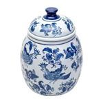 Potiche de Porcelana com Tampa Ornamental Azul e Branco King Prestige