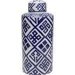 Potiche Ornamental de Cerâmica com Tampa Azul - Prestige